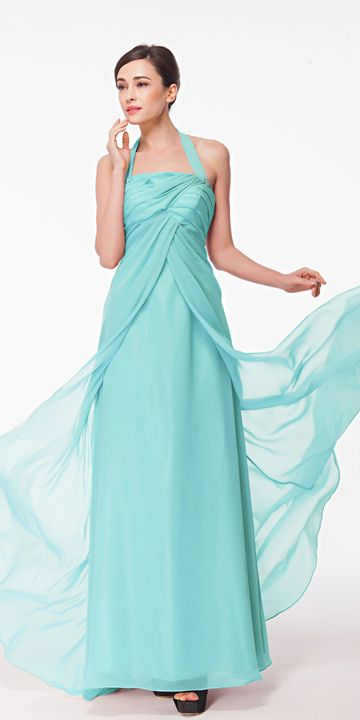Light Blue Halter Formal Dress