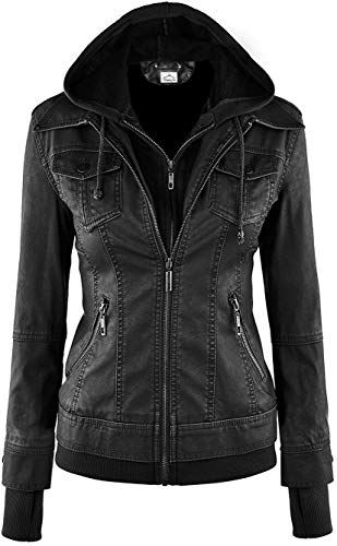 Trendy Hooded Long Sleeve Faux Twinset Pocket Design Jacket For Women