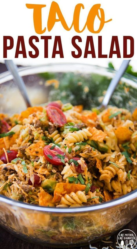 Taco Pasta Salad is a delicious pasta salad made with Mexican flavors, seasoned ground beef, crunchy doritos, and a delicious creamy dressing! Perfect for a summer potluck or BBQ! recipes with ground beef ideas Taco Pasta Salad Taco Salad Recipes, Mexican Food Recipes, Dinner Recipes, Healthy Recipes, Healthy Food, Taco Salads, Mexican Pasta Salads, Fast Recipes, Taco Salad Dressings