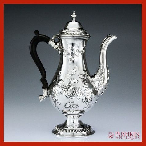 Antique 18th Century Rare Georgian Solid Silver very Large Coffee Pot  Sheffield 1777