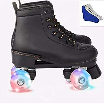 XUDREZ Roller Skates for Women Men High-top Roller Skates Four Wheels Roller Skates Shiny Roller Skates for Girls Boys with Shoes Bag