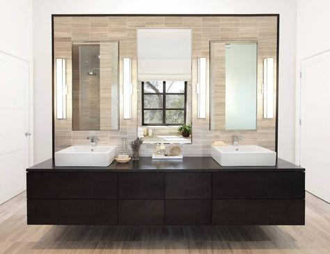 Peachy Contemporary Floating Vanity In Master Bathroom Westlake Home Interior And Landscaping Ymoonbapapsignezvosmurscom