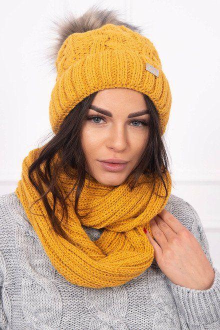 345806134 Dámska horčicová čiapka a šál, sada na zimu, pletený kúsok nájdeš u nás na
