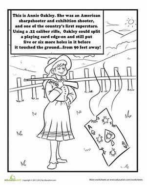 Color Annie Oakley Annie Oakley Oakley Tall Tales Activities