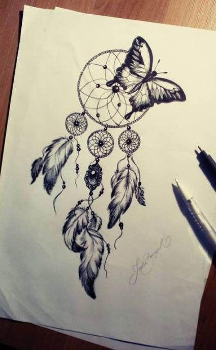 24+ Ideas drawing ink tattoo dream catchers #drawing #tattoo