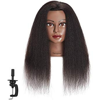 Traininghead 100 Real Hair Afro Mannequin Head Hairdresser Training Practice Head Cosmetology Manikin Hea Hair Mannequin Mannequin Heads Hairdressing Training
