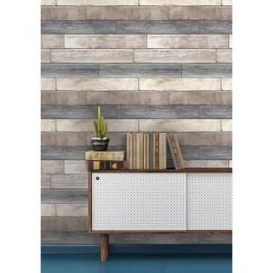Nuwallpaper 30 75 Sq Ft Reclaimed Wood Plank Natural Peel And Stick Wallpaper Nu1690 With Images Reclaimed Wood Wallpaper Peel And Stick Wallpaper Reclaimed Wood Design