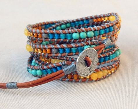 Leather Beaded 5x wrap bracelet with Honey Jade and Turquoise | Etsy