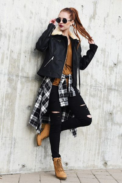 tomboy outfits – A fun take on the blue collar workman boot. A great tomboy accent to your outfit…