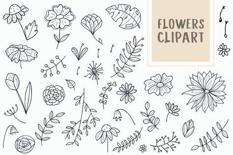 Flower Doodle Vector Images (281393)   Illustrations   Design Bundles