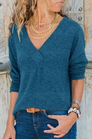 7d1899330dff Women Fall V Neck Plain T-Shirts | Clothes | Simple shirts, Shirts ...