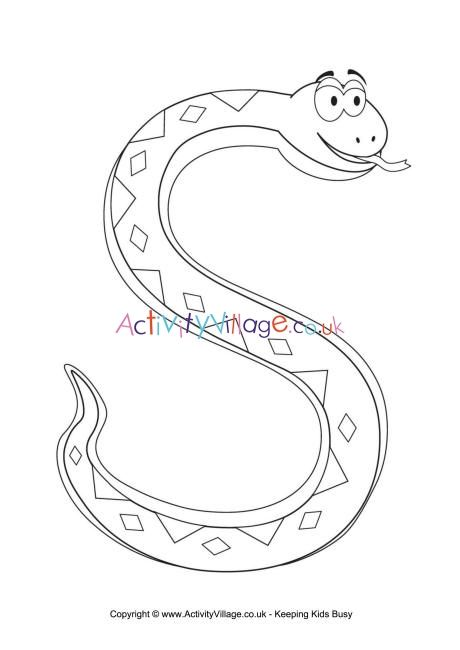 S Is For Snake Colouring Page Snake Coloring Pages Alphabet Coloring Pages Letter A Crafts