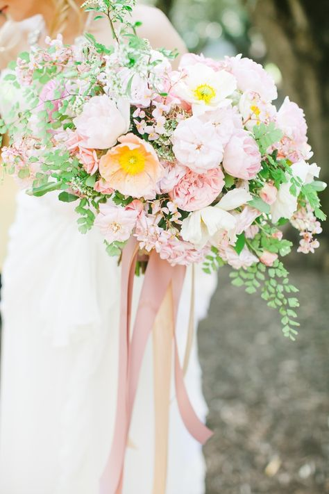 Romantic blush and white bridal bouquet. #Poppies #Ranunculus #Garden Roses #wedding #flowers