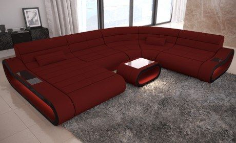 Modern Sectional Sofa Concept Ottoman Dark Red Fabric Mineva 10