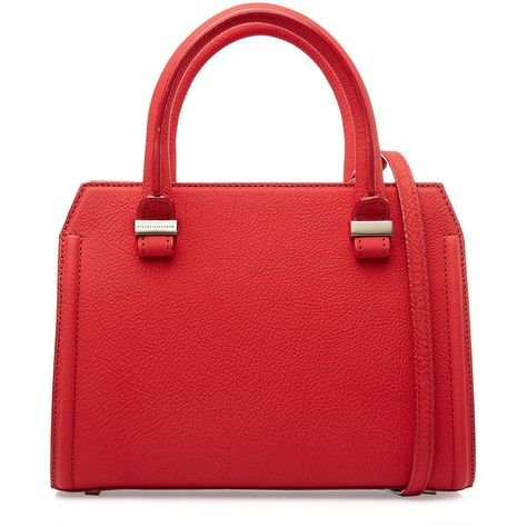 Victoria Beckham Mini Victoria Leather Tote ($1,230) ❤ liked on Polyvore featuring bags, handbags, tote bags, purses, bolsas, red, totes, leather purse, red tote and leather hand bags