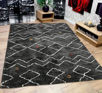 Habitat Charcoal Diamond Grey White Red Mustard Shaggy Modern Home Rug 160x230cm Home Rugs Area Rugs For Sale Dream Home Design
