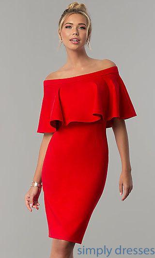 Off The Shoulder Red Short Wedding Guest Dress Red Wedding Guest Dresses Dresses Red Dress Party