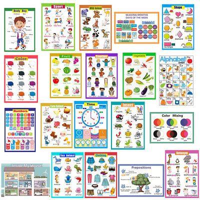 Phonics Charts Kids Learning Educational Chart wall Poster kids Activity chart