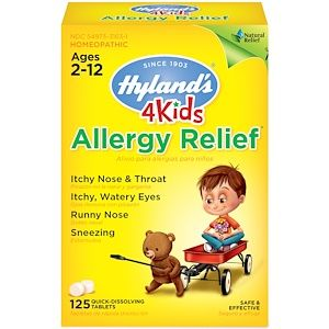 Hyland S 4 Kids Allergy Relief Ages 2 12 125 Quick Dissolving Tablets Kids Allergies Relief Kids Allergies Allergy Relief
