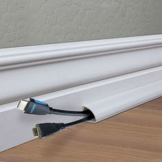 cable management – Use baseboard to conceal wires? – Home Improvement Stack Exch… cable management – Use baseboard to conceal wires? – Home Improvement Stack Exchange Hide Tv Wires, Hide Tv Cables, Tv Cords, Home Design, Hidden Tv, Home Fix, Diy Porch, Wall Mounted Tv, Hiding Wires Mounted Tv