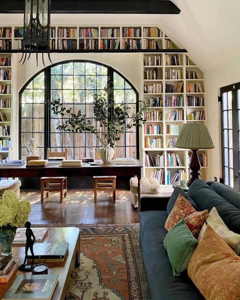 Historic Landmark living room with large built-in Bookshelves around window Dream Home Design, My Dream Home, Home Interior Design, Living Room Interior, Interior Design Instagram, Kitchen Interior, Exterior Design, Sweet Home, Dream Apartment