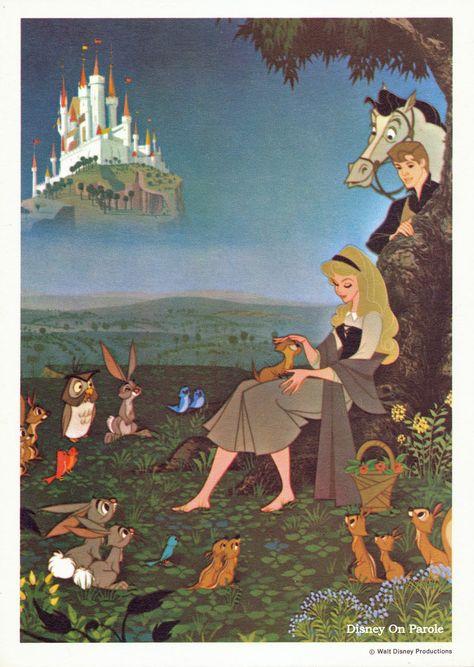 *AURORA & PRINCE PHILLIP ~ Sleeping Beauty, Vintage Disney Card