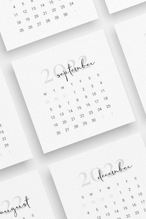 2022 Calendar  3x3  2x2  2022 Mini Calendar  Printable | Etsy