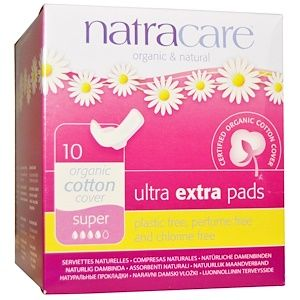 Natracare Organic Cotton Ultra Extra Long Pads with Wings 8 per pack