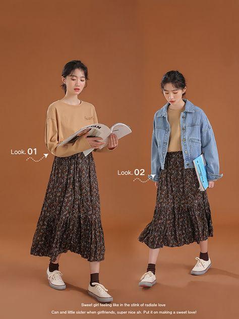 15.3US $ |Floral Skirt Pleated Women Korean Style Summer Print Black Empire Elastic Waist Color Long Skirt Female|Skirts|   - AliExpress