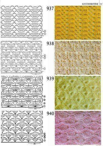 60 Puntos Fantasía En Crochet Con Muestras Símbolos De Ganchillo Patrones Punto Ganchillo Ganchillo