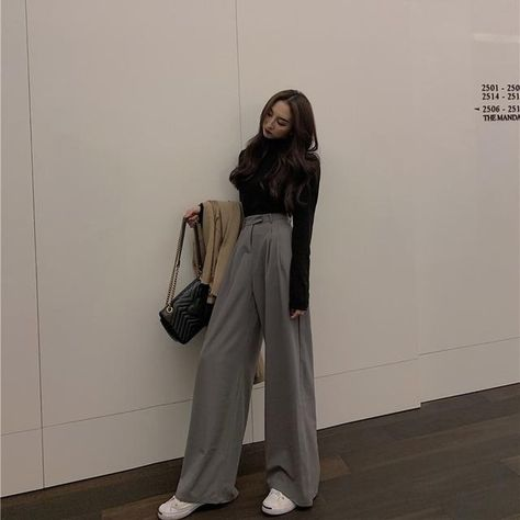 Mazefeng 2019 Spring Autumn Female Solid Wide Leg Pants Women Full Length Pants Ladies High Quality simple Casual Straight Pants - GRAY / M