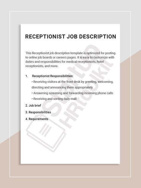 Receptionist Job Description Receptionist Jobs Job Description Template Job Description