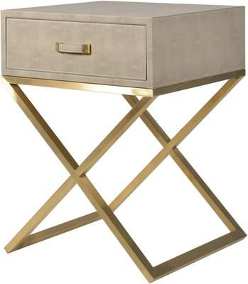 Faux Ostrich Leather Bedside Table Contemporary Stainless Steel