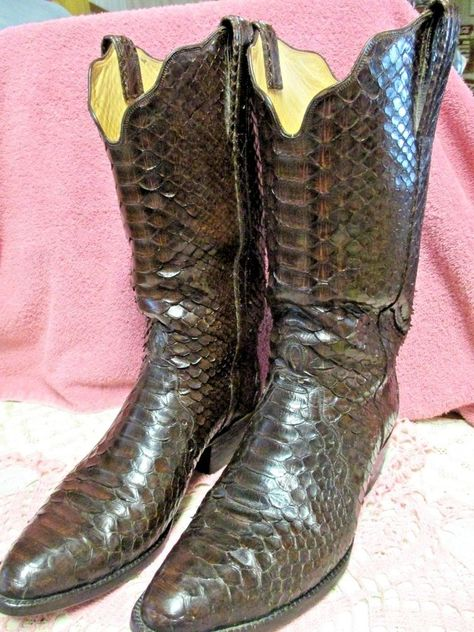 best authentic b0cce 8cd1c eBay  Sponsored Custom Made Boots Python Full Skin Brown Exotic Mens .