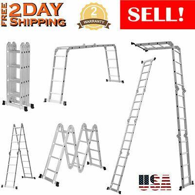 Ad Ebay En131 15 4ft Heavy Duty Extension Aluminum Step Ladder Folding Multi Purpose Us In 2020 Folding Ladder Ladder Locking Hinge