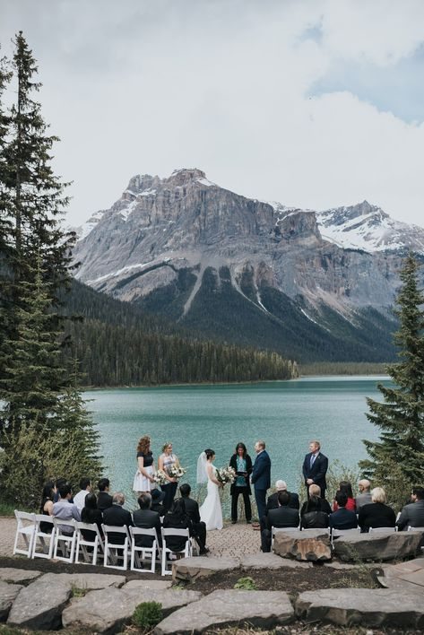 Emerald Lake Lodge Intimate Wedding Spring Mountain Wedding emerald lake lodge intimate wedding ceremony viewpoint photographed by ENV Photography. Intimate Wedding Ceremony, Outdoor Wedding Venues, Intimate Weddings, Outdoor Ceremony, Lake Wedding Ideas, Wedding Decor, Wedding Aisles, Wedding Backdrops, Best Wedding Venues