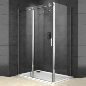 Cooke Lewis Eclipse Rectangular Shower Enclosure With Sliding Door W 1400mm D 900mm Rectangular Shower Enclosures Shower Enclosure Sliding Doors