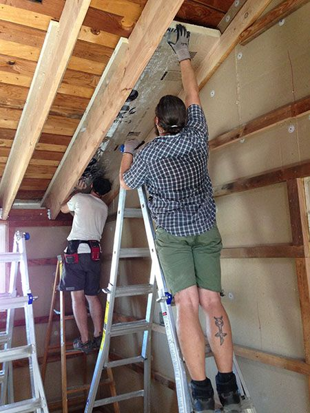How We Turned Our House Into A Giant Foam Box Part Ii Ceiling Insulation Frugal Happy In 2020 Ceiling Insulation Insulation Best Insulation