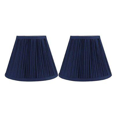 Breakwater Bay 7 H X 9 W Silk Shantung Empire Lamp Shade Spider Pleated Lamp Shades Navy Blue Lamp Shade Cream Lamp Shades