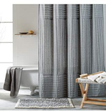 Pure Pintuck Pleat Shower Curtain Versatile Crisp Curtain With