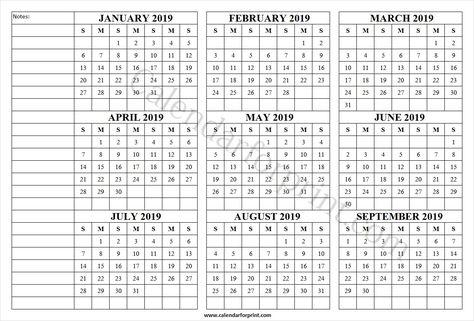 Jan Sep 2019 Printable Calendar Template January 2019 Calendar