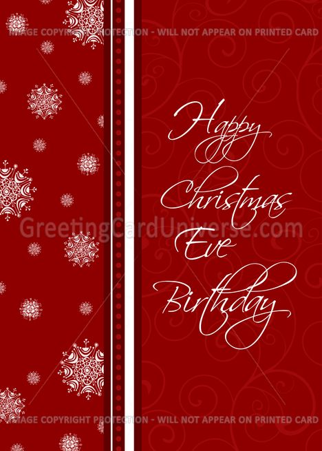 Christmas Eve Happy Birthday Card Red White Snowflakes Card