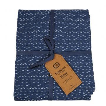 Blauw tafelkleed met halve maantjes, Ø 170 cm