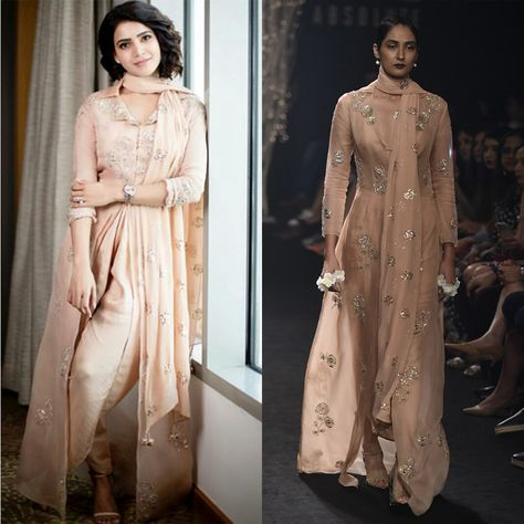 GET THE LOOK.  Samantha Akkineni in FAABIIANA  Dusty Pink Floral Embroidered Trench Coat Crop Blouse and Dhoti Pants Set #samanthaakkineni #faabiiana #dusty #pink #floral #ebmroidered #trench #coat #crop #blouse #dhoti #pants #set