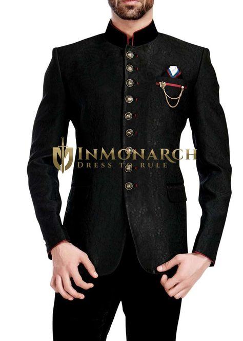 Mens Black 4 Pc Wedding Jodhpuri Suit 9 Button