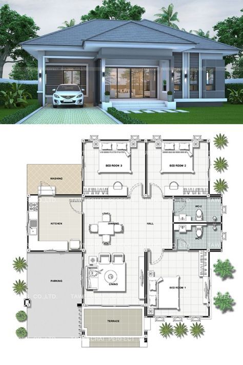 That Gray Bungalow With Three Bedrooms Pinoy Eplans In 2020 Modern Bungalow House Plans House Construction Plan Bungalow Style House Plans