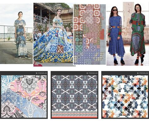 Patternbank's Premiere Vision SS16 Trends | Patternbank PRETTY MOSAIC Authentic tile patterns_irregular layouts_geometric and floral mixes_delftware_hand drawn style_broken mosaics_pretty flowers_distressed and worn