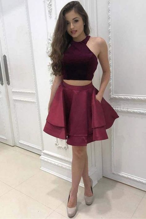 Dark Red Two Piece Satin Mini Homecoming Dress Simple Sleeveless Party Dresses