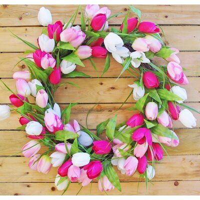 August Grove Artificial Tulip Mixed Leaf 24 Polyester Wreath Wreath Color Pink Faux Flowers Christmas Decorations Christmas Tree Storage