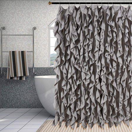 Waterfall Shabby Chic Ruffled Fabric Shower Curtain Silver Walmart Com In 2020 Shabby Chic Shower Curtain Chic Bathroom Decor Shabby Chic Bathroom